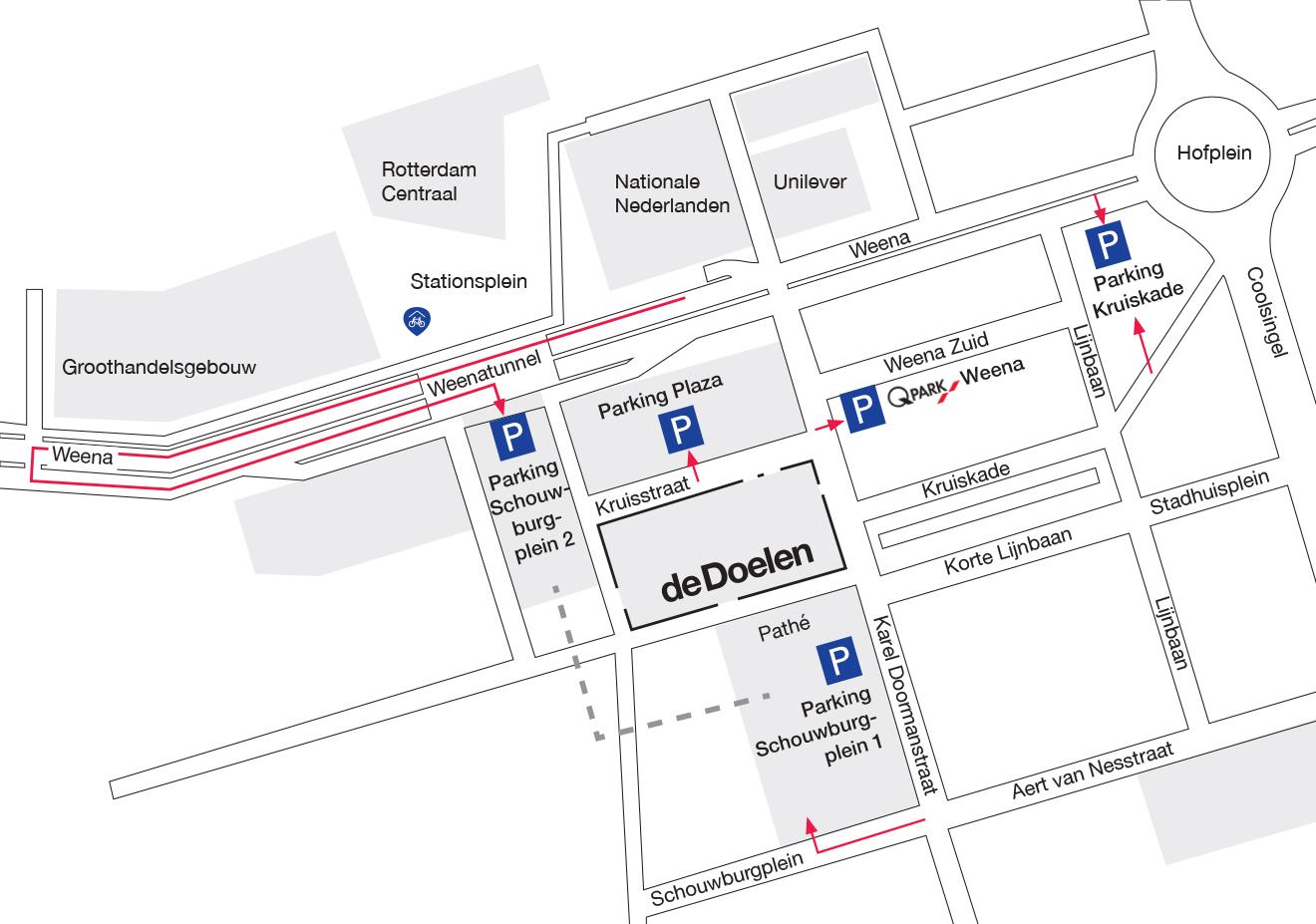 Auto, brommer, motor, fiets parkeerplekken rondom de Doelen Rotterdam